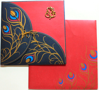 buy_hindu_ganpati_square__box type_wedding card_peacock feather_Vashi