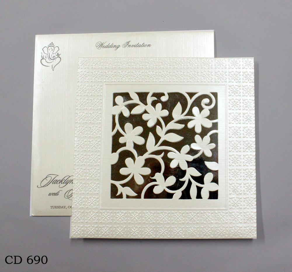 buy_hindu_metallic_wedding card_white_vashi